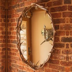 No Footsie Oval Antler Mirror